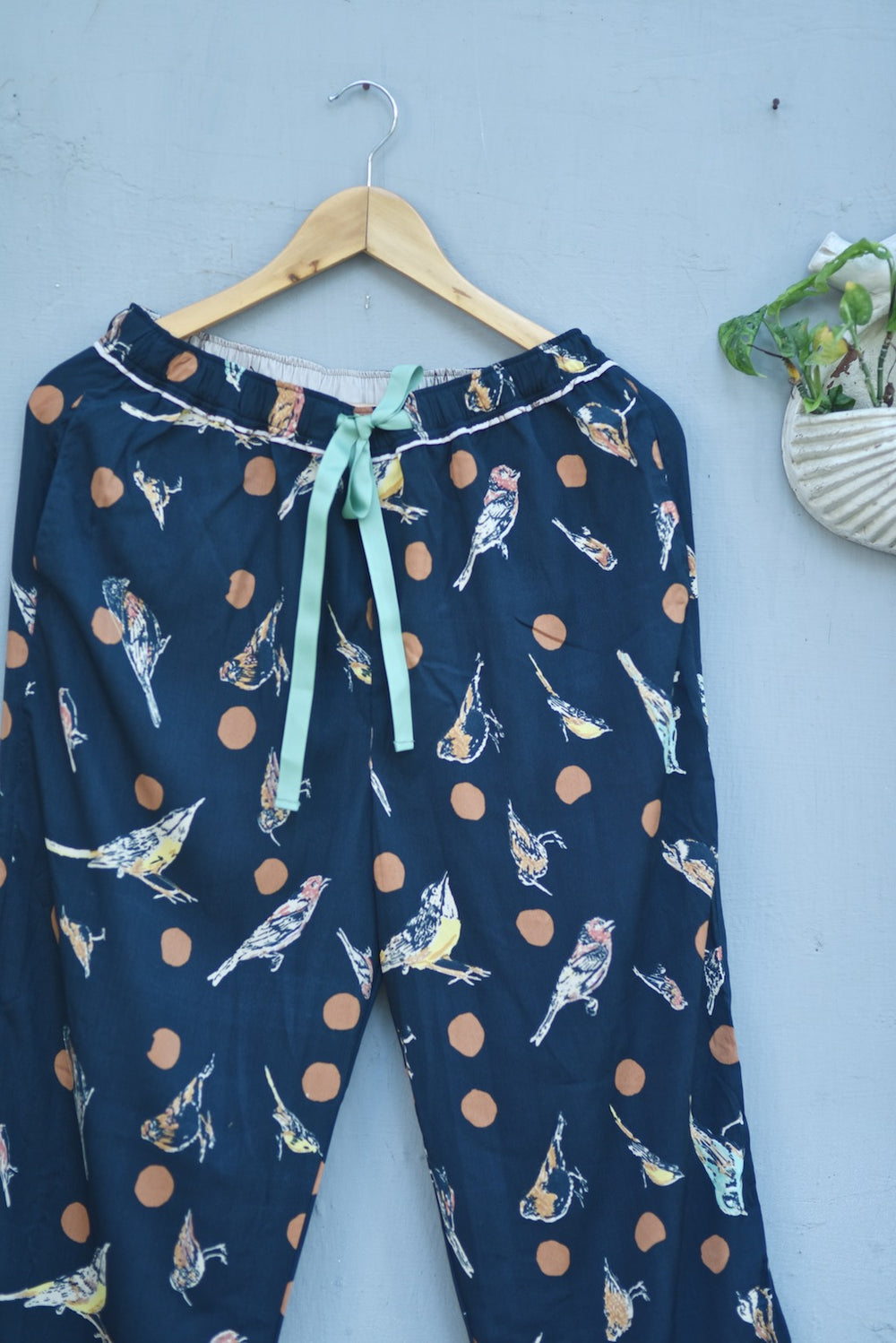 Tellus, Pure Crepe Blue Pajamas with Orange Polka Dots & Bird Print