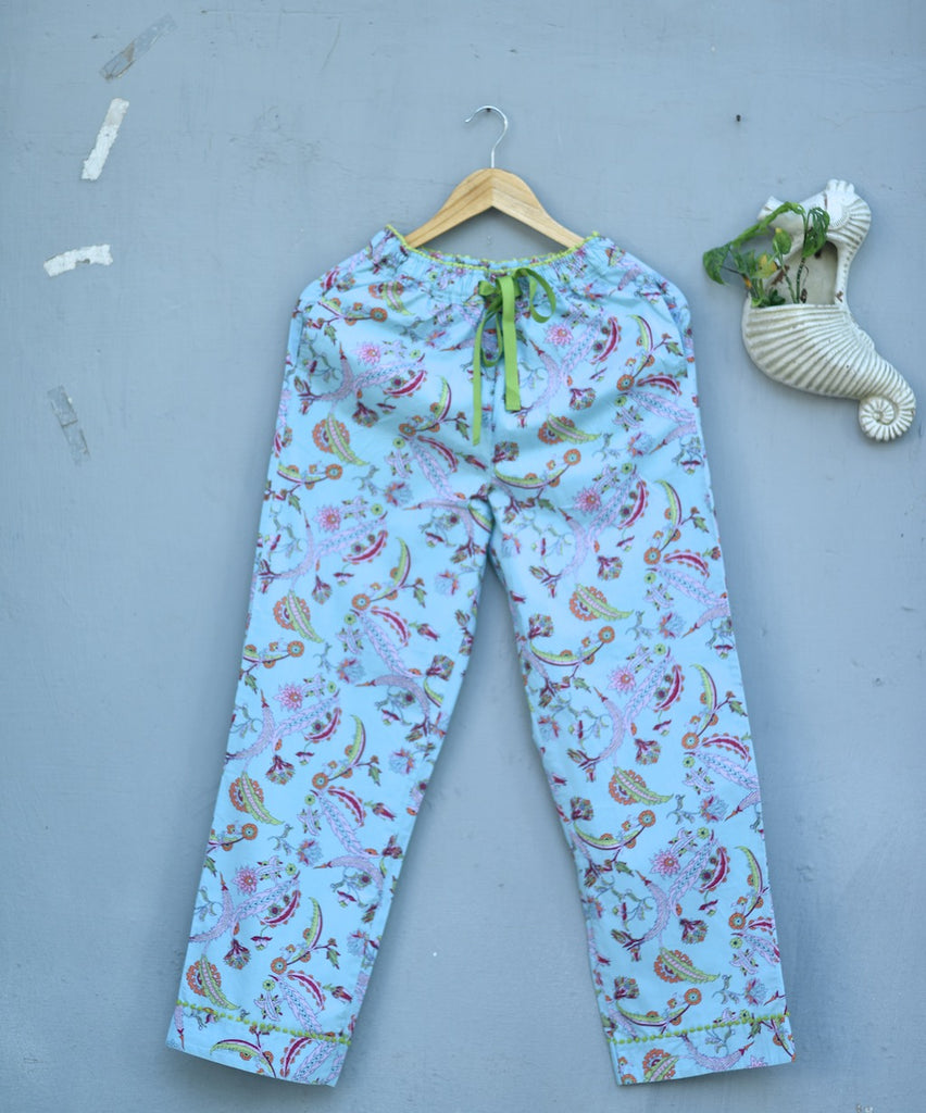 Hina, Pure Cotton Blue & Pink Floral Print Pajama with Green Lace and Pom Pom at bottom