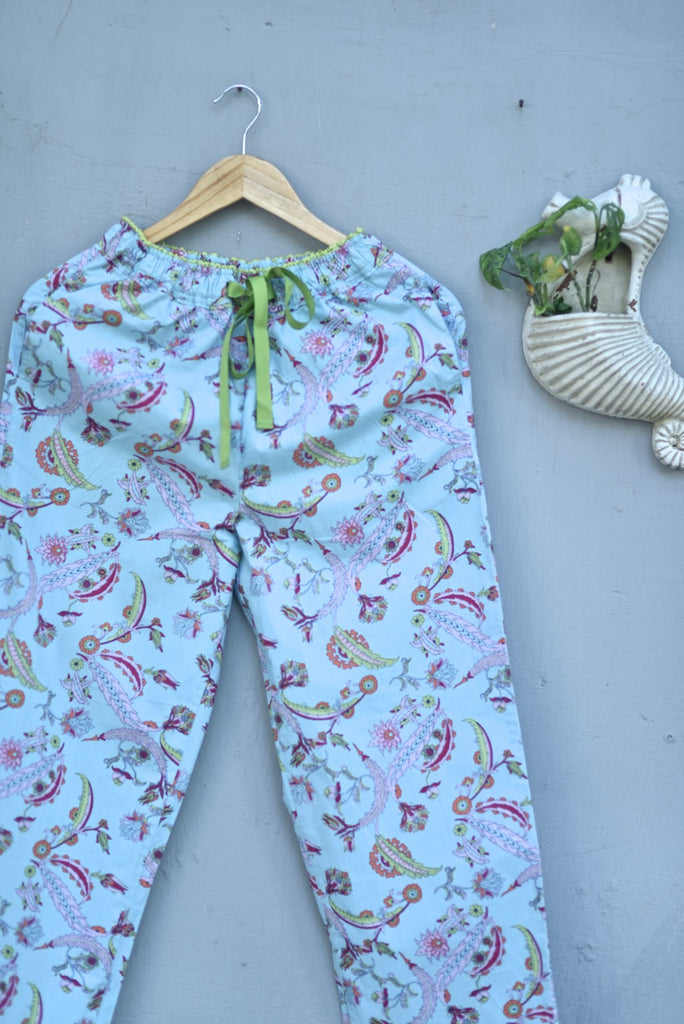 Hina, Pure Cotton Blue & Pink Floral Print Pajama with Green Lace and Pom Pom at bottom - kinchecom