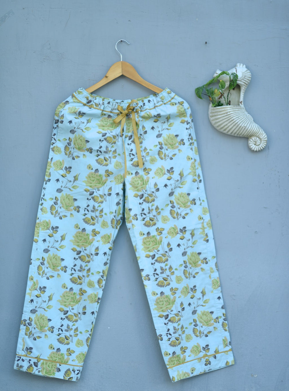 Mitya, Light Blue Color and Yellow Floral Print Pajama by kinche - kinchecom