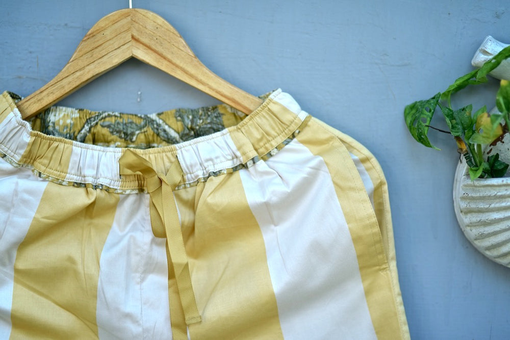 Aspen, Off White and Yellow Stripes Silk & Cotton Jammy