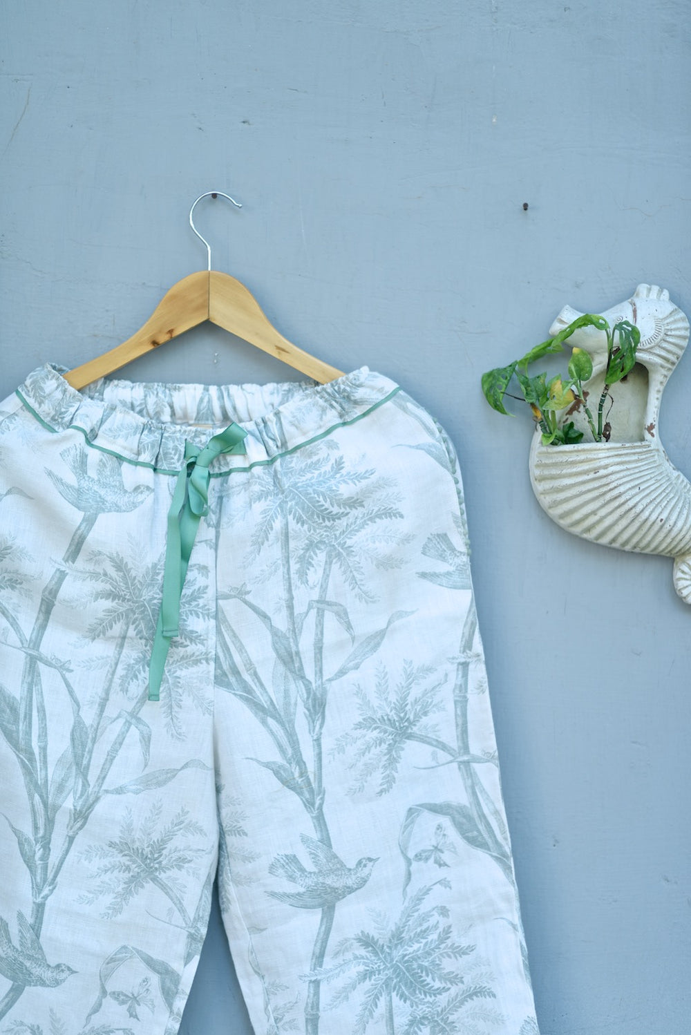 Zeme, Pure Linen Cream pajamas with Sage Color Bird Print with Pom Poms