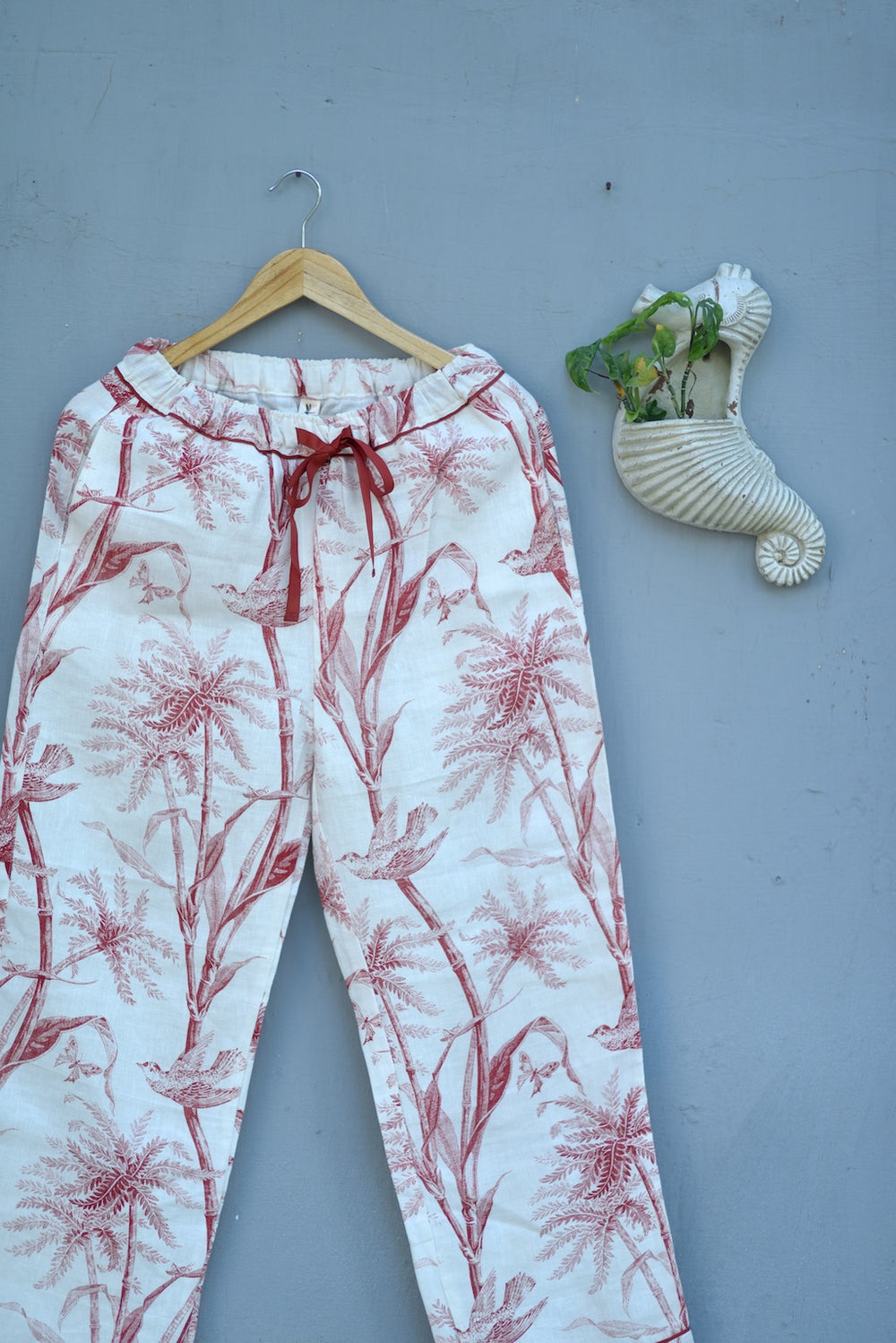 Jord, Pure Linen Cream Pajamas with Currant Color Bird Print with Pom Poms - kinchecom