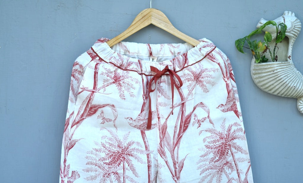 Jord, Pure Linen Cream Pajamas with Currant Color Bird Print with Pom Poms