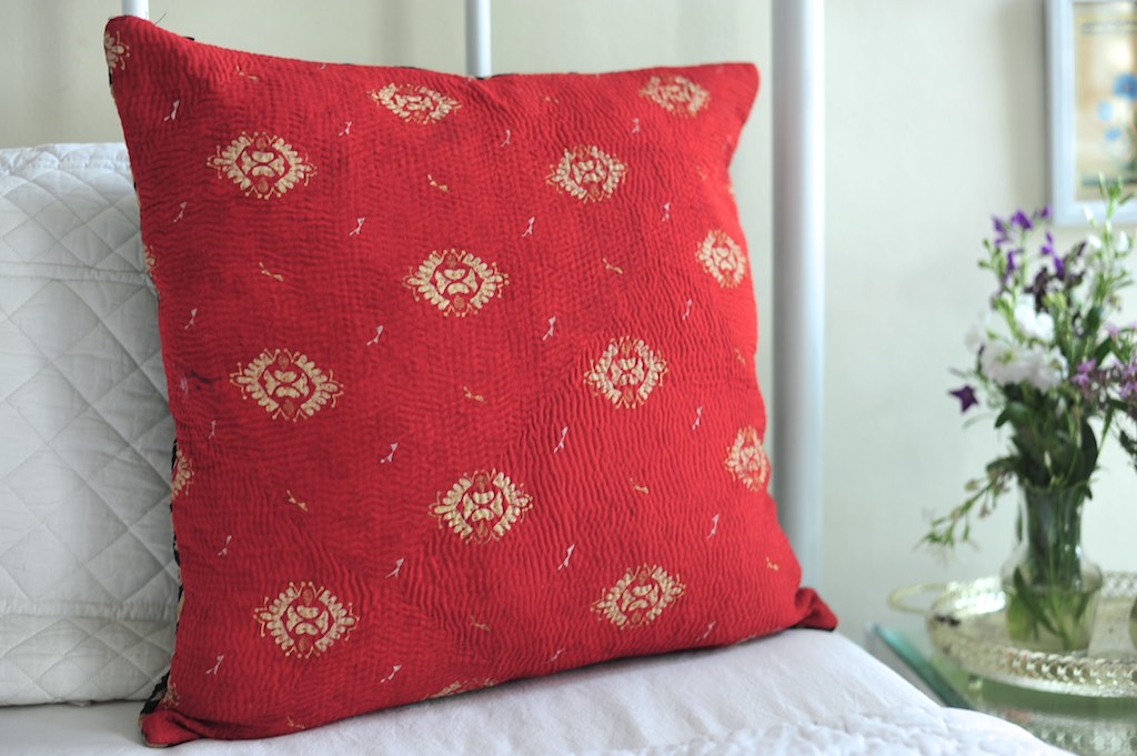 Chitra, Reversible Vintage Kantha Cushion Cover 20X20""