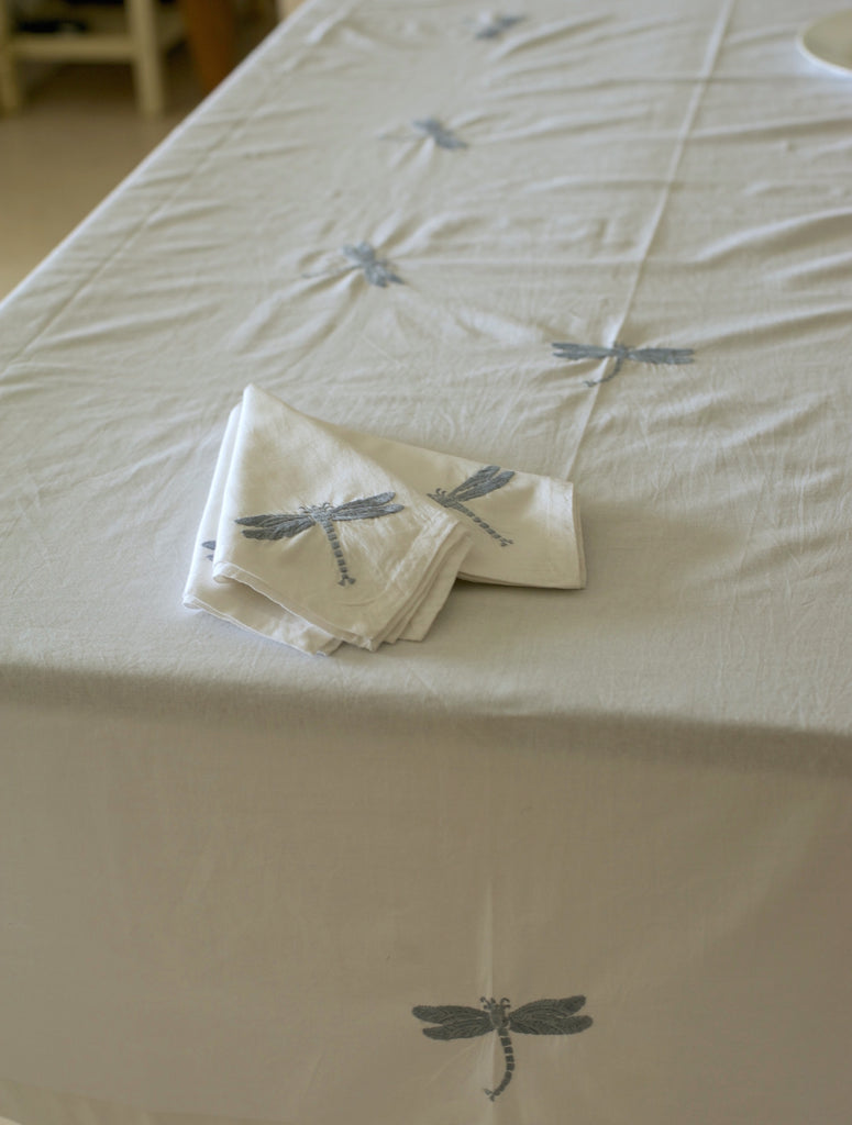 Hand Embroidered Grey Dragon Fly Tablecloth for 6-8 Seating 96X60 Inches - kinchecom