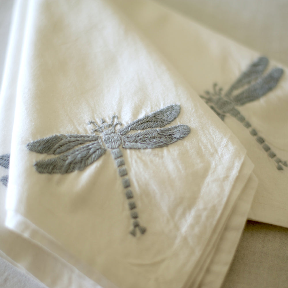 Hand Embroidered Grey Dragon Fly Tablecloth for 6-8 Seating 96X60 Inches