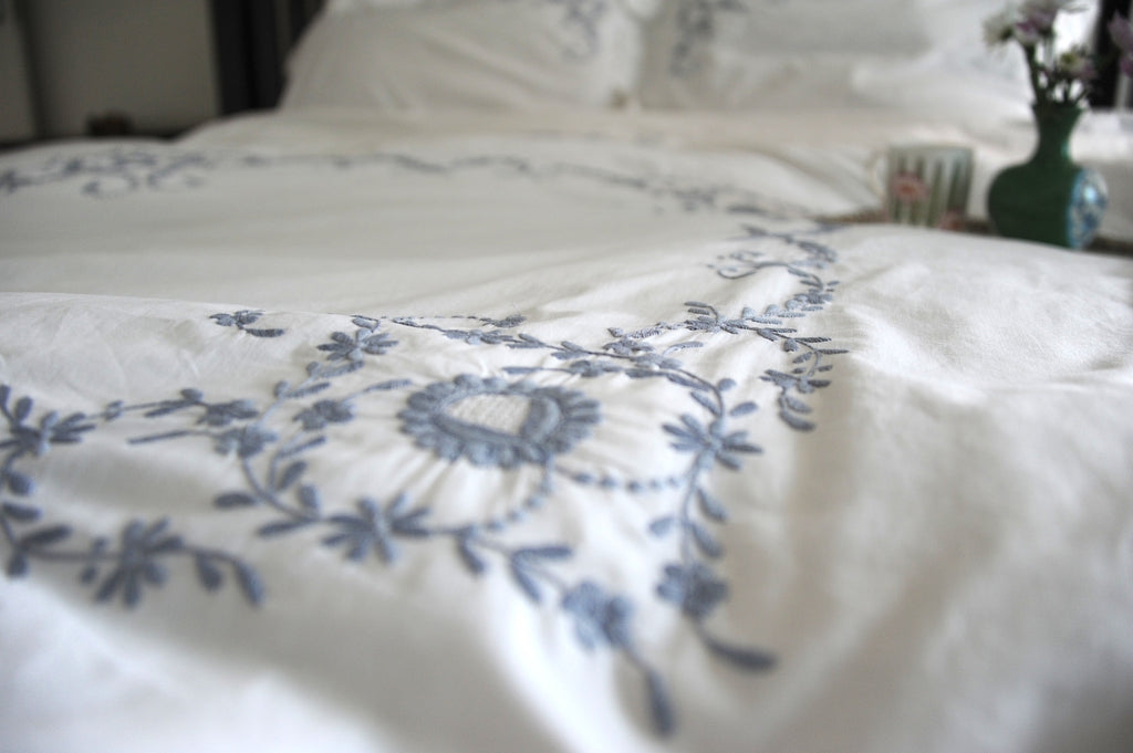 Vintage Cutwork Pattern, Grey on White Hand Embroidered Duvet Cover King Size 102x98""