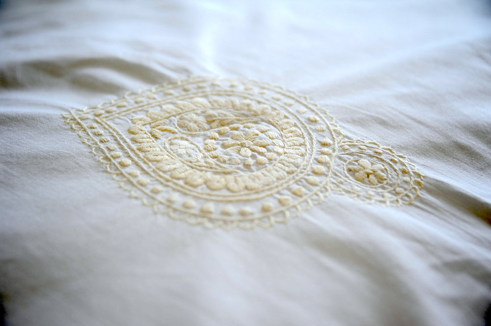 Indian Shankh in Beige Embroidered Pattern Cotton Duvet Cover Queen Size 98x92""