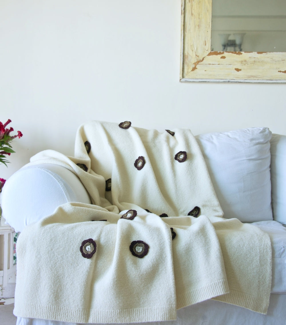 Enyo, Pure Wool, Lambs Wool Knitted Throw/ Blanket With Crochet Flowers 50X70 inches