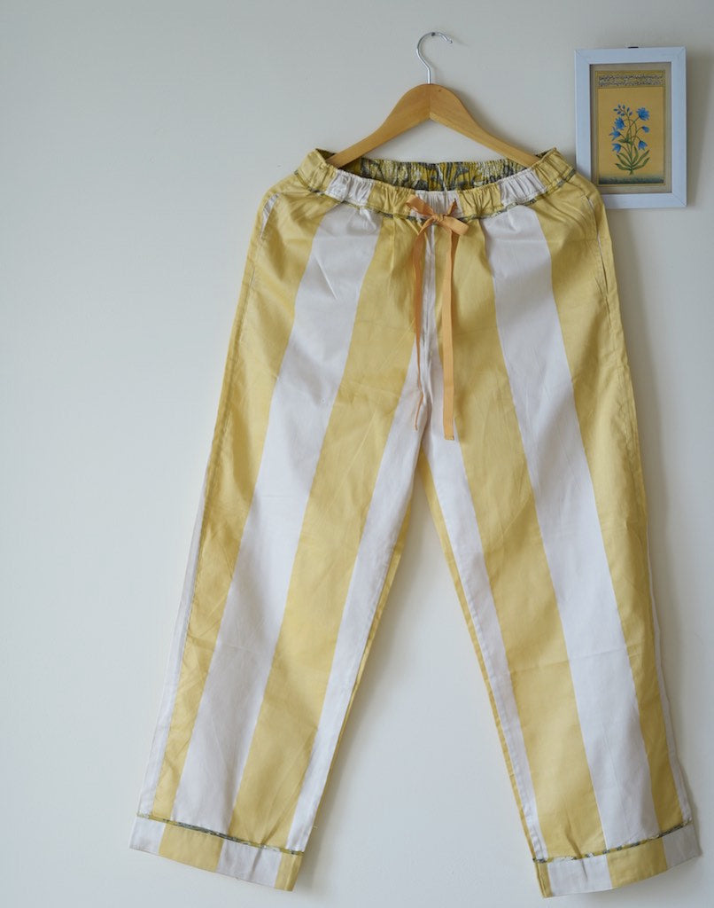 Aspen, Off White and Yellow Stripes Silk & Cotton Jammy - kinchecom