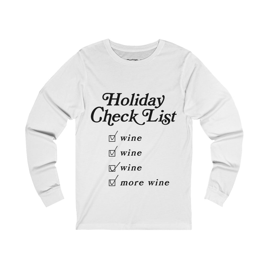 Holiday Wine Checklist - Long Sleeve Tee