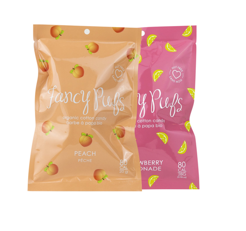 Peach and Strawberry Lemonade Organic Cotton Candy by Fancy Pufs