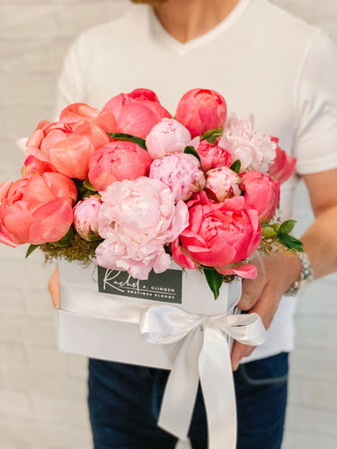 Pink and Bush Peony Flower Box