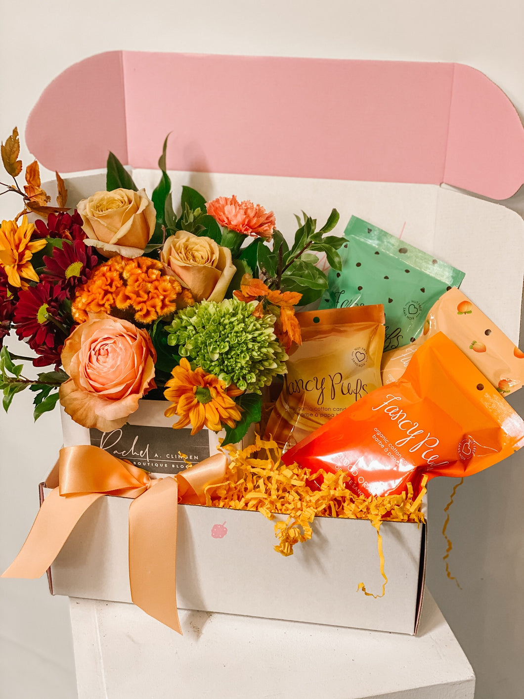 Halloween Themed Gift Box with Flowers and Cotton Candy