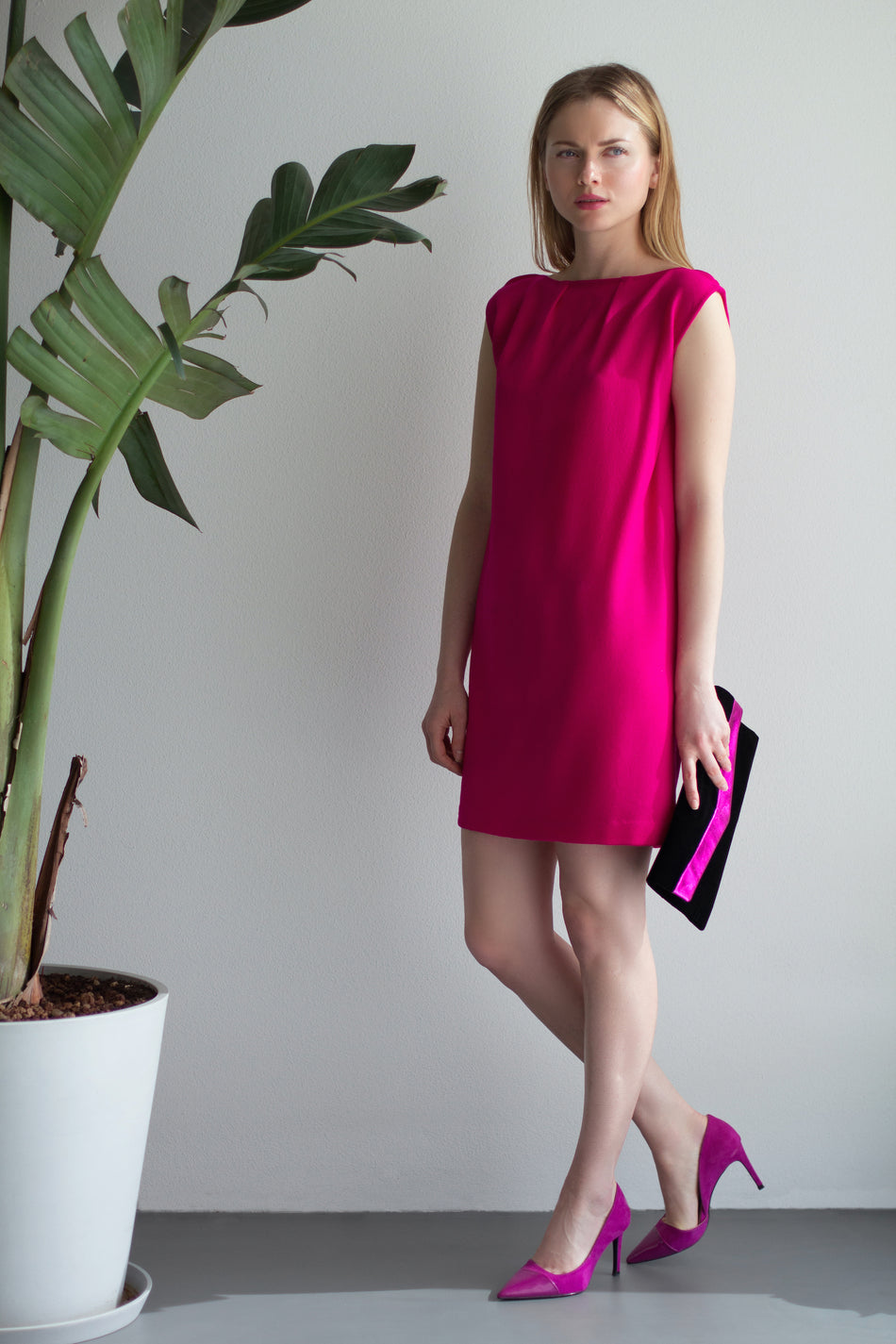 DIDI Minidress in Crepella Fuchsia