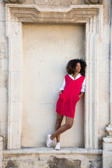 Dress in Red Coral Wool Crepe