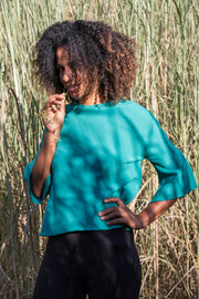 Blouse Tulip in Emerald Wool Crepe