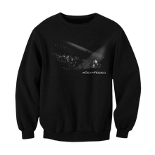 "Load image into Gallery viewer, Black pullover sweater. Print is black and white picture of Cody onstage playing in front of fans. Underneath the right side of the photo says ""#DEARRODEO"""