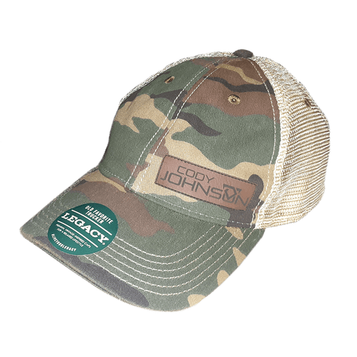 Cody Johnson Army Camo front with mesh back hat. Includes a brown leather like logo patch on the front.