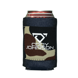 Denim With Camo Patch Drink Can/Bottle Cooler