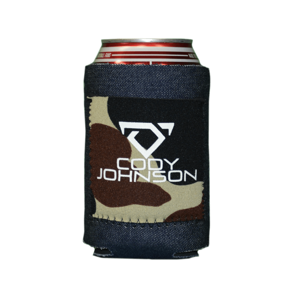 Denim With Camo Patch Drink Koozie