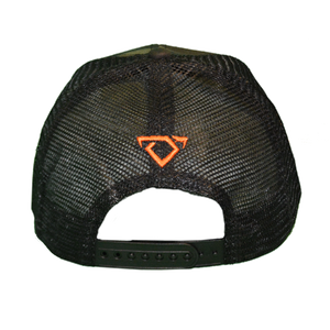Back of Cody Johnson Camo with Orange Patch Hat with a small orange bull horns logo
