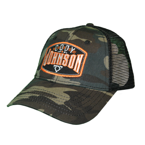 Cody Johnson Camo with Orange Patch Hat with mesh back side. The patch in front says