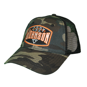 "Cody Johnson Camo with Orange Patch Hat with mesh back side. The patch in front says ""Cody Johnson"" in white with orange accents, and a small white bull horns logo below."