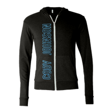 Load image into Gallery viewer, COJO Nation Charcoal Grey Lightweight Zip Hoodie with Blue distressed lettering spelling out Cody Johnson on the right side.
