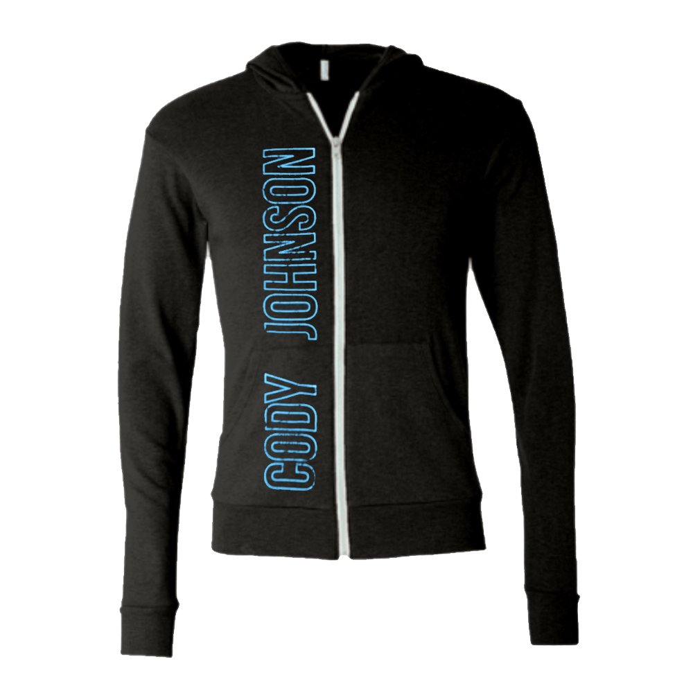 COJO Nation Charcoal Grey Lightweight Zip Hoodie with Blue distressed lettering spelling out Cody Johnson on the right side.