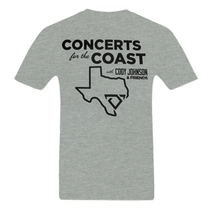 Back of Cody Johnson Concert for the Coast Gray Tee
