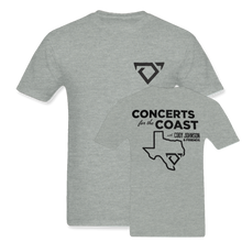 "Load image into Gallery viewer, Cody Johnson Concert for the Coast Gray Tee. Gray Tee with black bull horns logo on the top left side in the front. The back says ""Concert for the Coast"" in big black lettering. There is also an outline of Texas in black below.."