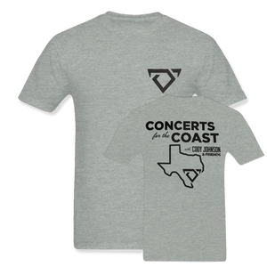 "Cody Johnson Concert for the Coast Gray Tee. Gray Tee with black bull horns logo on the top left side in the front. The back says ""Concert for the Coast"" in big black lettering. There is also an outline of Texas in black below.."