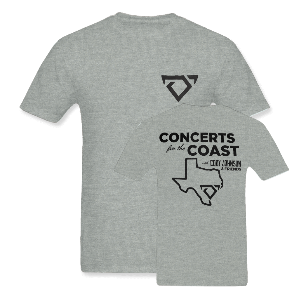 Cody Johnson Concert for the Coast Gray Tee. Gray Tee with black bull horns logo on the top left side in the front. The back says