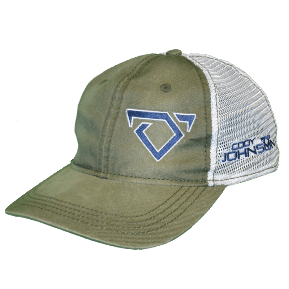 Cody Johnson Green and White with Blue Bull Horns Hat