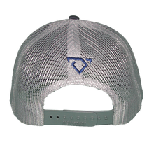 Load image into Gallery viewer, Back of Navy and Silver Hat with Leather Patch. Small Navy bull horns logo on back.