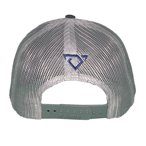 Navy and Silver Hat with Leather Patch