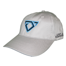 Load image into Gallery viewer, Cody Johnson Youth Light Grey Hat. Light grey hat with a black bull horns logo on front, outlined in blue.