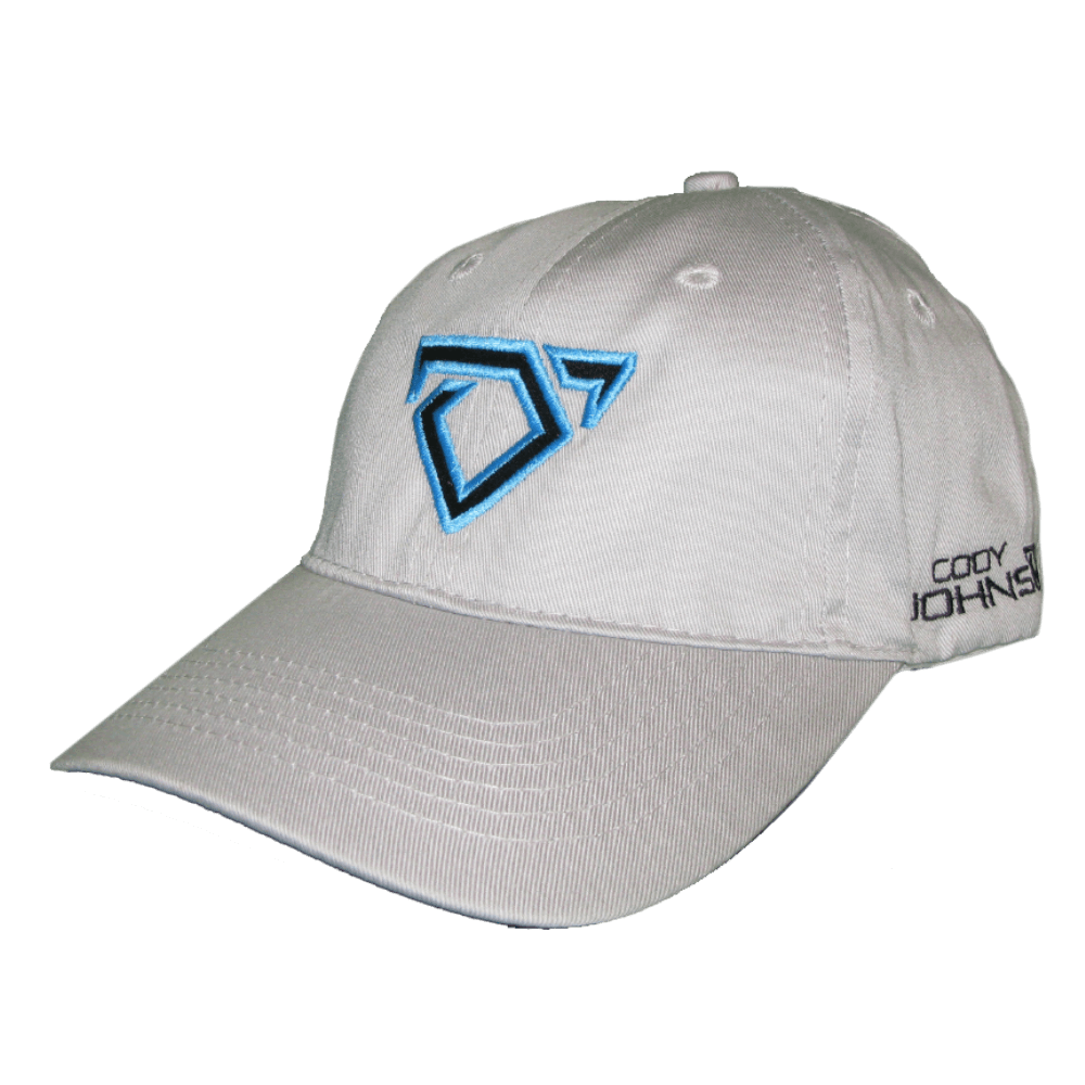 Cody Johnson Youth Light Grey Hat. Light grey hat with a black bull horns logo on front, outlined in blue.