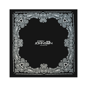 "COJO Nation Black Bandanna. Black bandana with ""Cody Johnson"" and a bull horns logo written in white in the middle. There is a bull horn logo and design in each corner of the bandana."