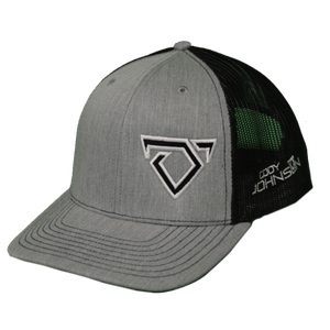 Cody Johnson Gray and Black Hat. Gray front side of hat with black and white bull horns logo. Back side is black colored mesh.