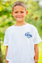 Load image into Gallery viewer, White Youth shirt with a blue and green COJO Nation logo on the front.