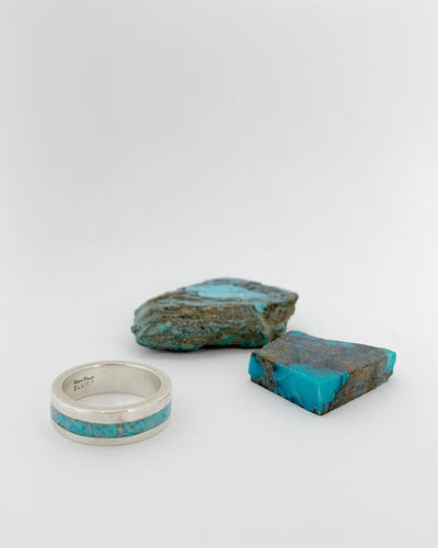 Turquoise and Silver Inlay