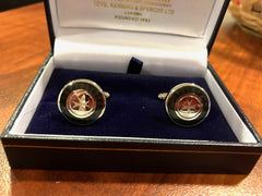 Toye Rhodium and Enamel T-Bar Cuff Links