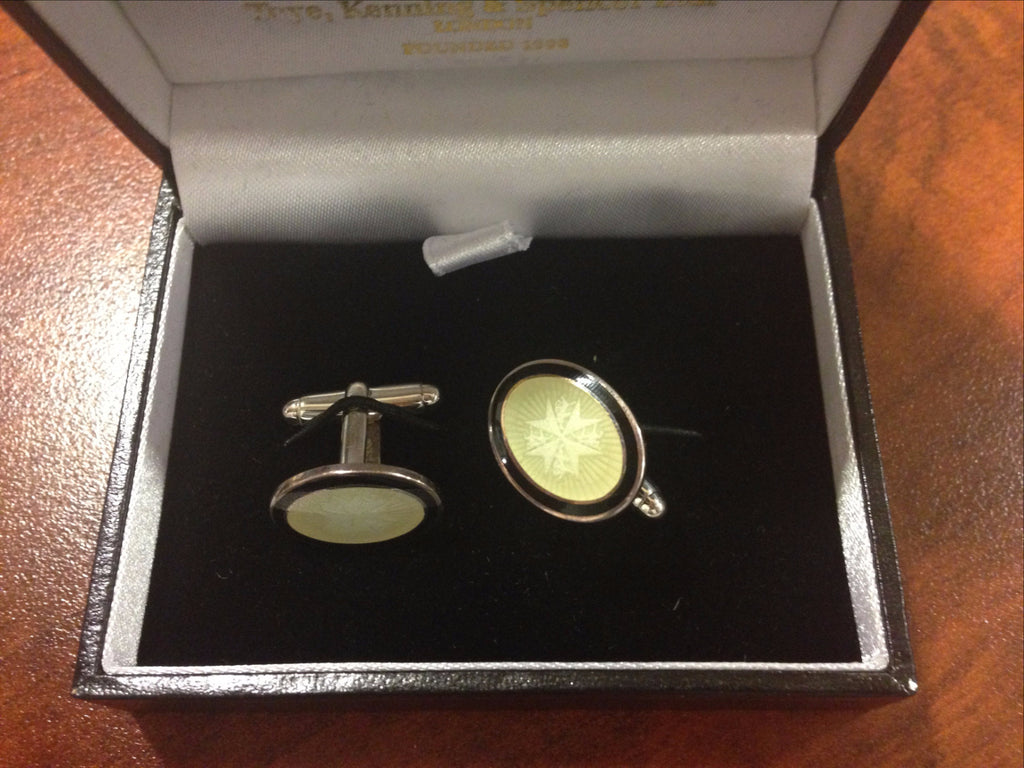 Toye Sterling Silver and White Enamel T-Bar Cuff Links