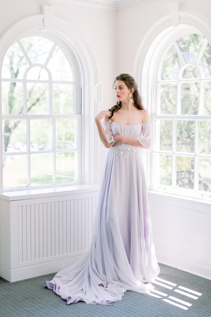 A whimsical lavender wedding dress with a gathered chiffon skirt and 3D leaf applique. Custom made by Catherine Langlois in Toronto, Ontario, Canada.