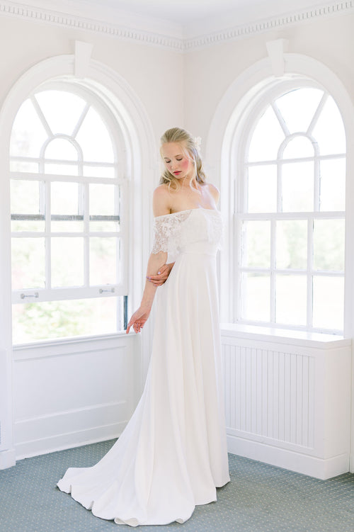 Modern update of a boho wedding dress, simple and easy in crepe with an A line skirt. Designed by Catherine Langlois in Toronto, Ontario, Canada.