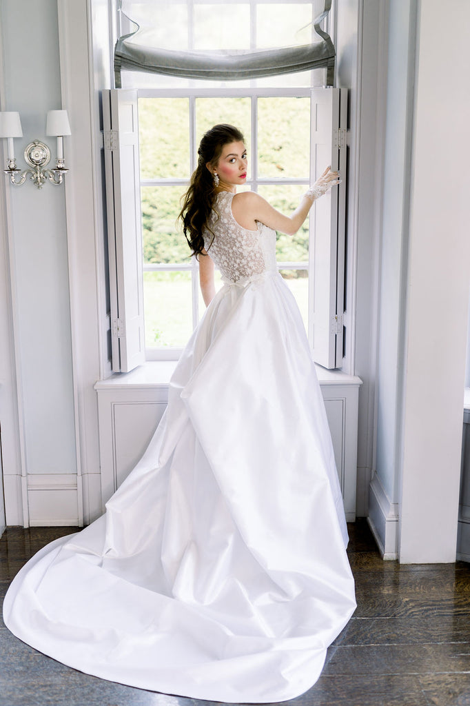 Ann by Catherine Langlois. Timeless silk Mikado wedding dress with 3D lace. Handmade to order in Toronto, Ontario, Canada.