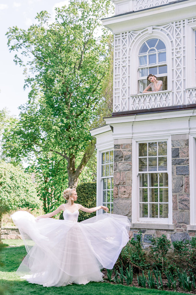 Gorgeous Bronte, an organza and tulle wedding dress by Catherine Langlois. Delicate vine applique on the skirt. Photo by Whitney Heard.